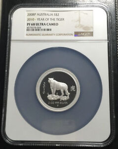 Click now to see the BUY IT NOW Price! 2010 AUSTRALIA 2 OZ SILVER NGC PF68UC LUNAR YEAR OF THE TIGER  SERIES I