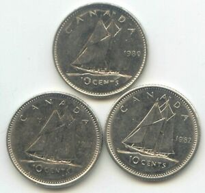 CANADA 1980 1981 1982 CANADIAN DIME TEN CENTS 10C EXACT COIN SET SHOWN