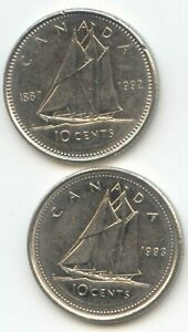 CANADA 1992 AND 1993 CANADIAN DIMES TEN CENTS 10C 10 C EXACT COIN SHOWN