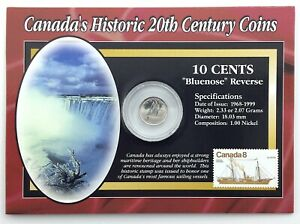 CANADA HISTORIC 20TH CENTURY COINS 1999 10 CENT DIME 8 CENT STAMP Q237