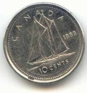 CANADA 1999 DIME CANADIAN 10 CENT PIECES 10C 10 C EXACT COIN SHOWN