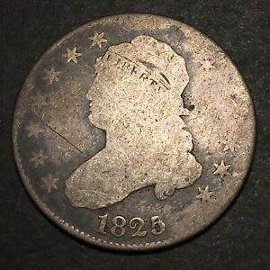 1825/4 CAPPED BUST QUARTER 25C OVERDATE ERROR SILVER OBSOLETE  US TYPE COIN
