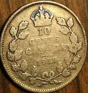 1919 CANADA SILVER 10 CENTS COIN