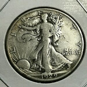 1929 S  SILVER WALKING LIBERTY HALF DOLLAR BETTER DATE  COIN