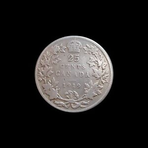 CANADA 25 CENTS 1919 GEORGE V SILVER KM 24 4305