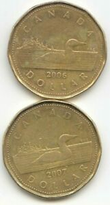 CANADA 2006 & 2007 LOONIES CANADIAN ONE DOLLAR $1 EXACT COIN SHOWN
