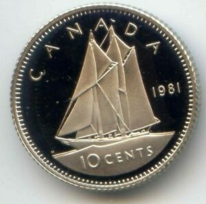 CANADA 1981 FROSTED PROOF DIME CANADIAN 10C EXACT COIN SHOWN