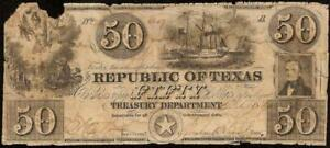 1840 $50 BILL REPUBLIC OF TEXAS RISING NOTE LARGE CURRENCY PAPER MONEY AUSTIN