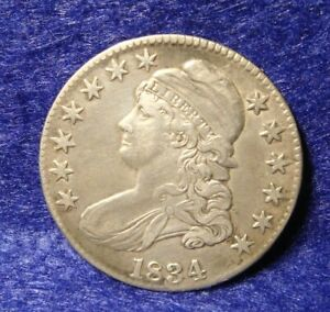 1834 50C CAPPED BUST SILVER HALF DOLLAR VF   XF EARLY US TYPE COIN