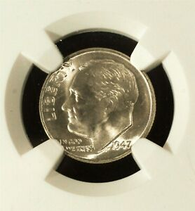 1947 D ROOSEVELT DIME 10 CENT .900 SILVER NGC GRADED MS 66 NICE COIN