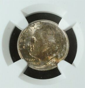 1946  P  ROOSEVELT DIME 10 CENT .900 SILVER NGC GRADED MS 66 OBVERSE TONING