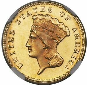 $3 1871 MS 63 NGC $3 GOLD PRINCESS CONDITION CENSUS TOUGH DATE