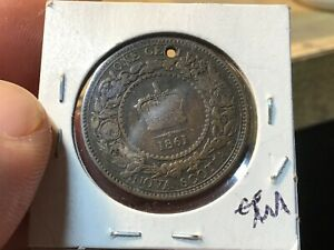 1861 NOVA SCOTIA LARGE ONE CENT COIN  95  COPPER    WITH HOLE WAS ON PENDANT?