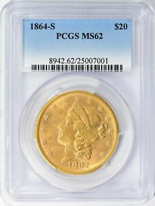 Click now to see the BUY IT NOW Price! 1864S $20 GOLD LIBERTY MS 62 PCGS TYPE 1  RARITY IN MINT STATE 1 OF FINEST KNOWN