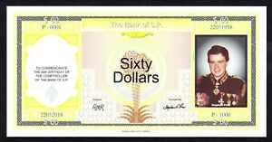 AUSTRALIA PRIVATE ISSUE BANK OF S.P.  STEPHEN PRIOR 'S 60TH BIRTHDAY UNC NOTE