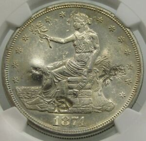 1874 S T$1 US SILVER TRADE DOLLAR NGC UNC DETAILS CHOPMARKED Z8