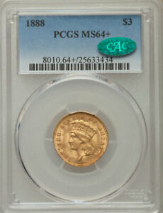 Click now to see the BUY IT NOW Price! $3 1888 MS64   PCGS. CAC $3 GOLD PRINCESS PCGS CAC SUPERIOR QUALITY & HIGH END