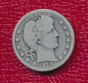1915 BARBER SILVER QUARTER   VERY NICE CIRCULATED COIN