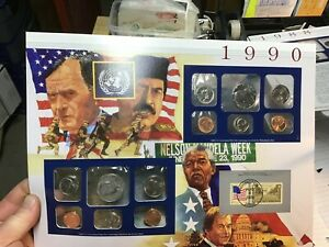 1990 US MINT SET 10 COIN SET  P & D WITH HISTORY PRESENTATION CARD US STAMP
