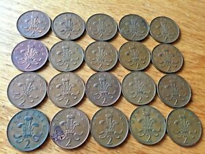 GREAT BRITAIN LOT OF 20 X 2 PENCE COINS