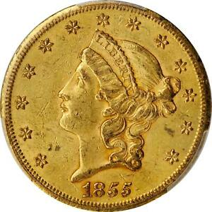 1855 S $20 GOLD TYPE 1 $20 AU 58 CAC PCGS TOUGH DATE&  STEAL THIS GEM  .