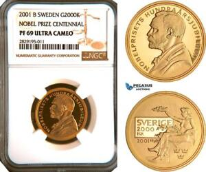 Click now to see the BUY IT NOW Price! AC961 SWEDEN NOBEL PRIZE CENTENNIAL 2000 KRONOR 2001 GOLD NGC PF69UC