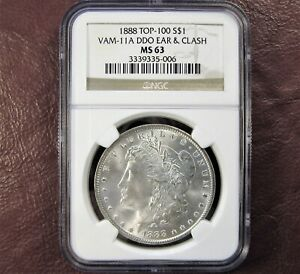 1888 P MORGAN DOLLAR MS63 NGC     TOP 100 VAM 11A DDO EAR & CLASH      SHIP FREE