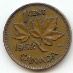 CANADA 1952 CANADIAN PENNY ONE CENT KING GEORGE VI 1C  COIN LOT D