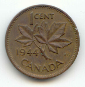 CANADA 1944 CANADIAN ONE CENT PENNY 1C  COIN LOT D