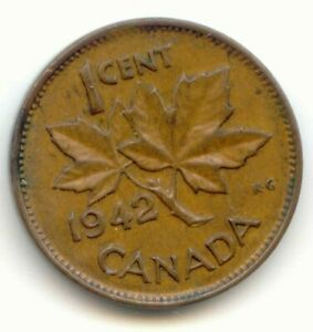 CANADA 1942 PENNY CANADIAN 1 CENT ONE COIN 1C  COIN LOT D