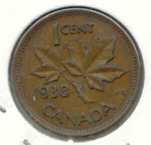 CANADA 1938 CANADIAN PENNY ONE CENT 1C  COIN LOT D