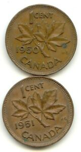 CANADA 1950 AND 1951 ONE CENT CANADIAN PENNIES PENNY 1C LOTB