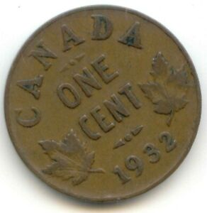 CANADA 1932 PENNY CANADIAN 1 CENT COIN 1C  COIN LOT D