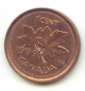 CANADA 1999 PENNY CANADIAN 1 CENT MAPLE LEAF 1C  COIN LOT D