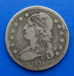 1834 US UNITED STATES 25C CAPPED BUST SILVER QUARTER COIN / YOU GRADE