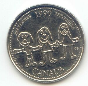 CANADA 1999 SEPTEMBER QUARTER CANADIAN 25 CENT 25C EXACT COIN SHOWN