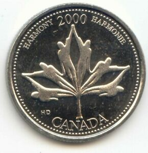 CANADA 2000 HARMONY HARMONIE QUARTER CANADIAN 25 CENT TWENTY FIVE CENTS