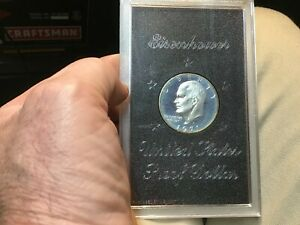 1971 S PROOF SILVER IKE DOLLAR IN ORIGINAL MINT  PLASTIC 1 COIN