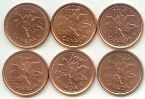 CANADA 2002 2003 2004 2005 2006 2007 ONE CENT CANADIAN PENNIES 1C