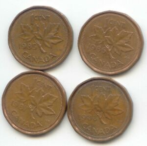 CANADA 1985 1986 1987 1988  PENNIES CANADIAN 1 CENT 1C PENNY EXACT SET SHOWN