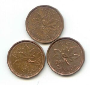 CANADA 1987 1988 1989 PENNIES CANADIAN 1 CENT 1C PENNY SET EXACT COINS