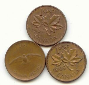 CANADA 1966 1967 1969 ONE CENT CANADIAN PENNIES PENNY 1C EXACT SET