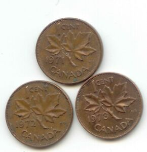 CANADA 1971   1972   1973 PENNIES CANADIAN 1 CENT 1C EXACT SET SHOWN