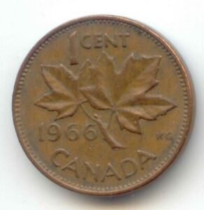 CANADA 1966 CANADIAN PENNY ONE CENT 1C   EXACT COIN SHOWN