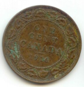 CANADA 1916 1 CENT COIN CANADIAN LARGE PENNY 1C  FILLER COIN   SEE DESCRIPTION