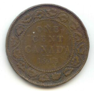 CANADA 1913  1 CENT COIN CANADIAN LARGE PENNY 1C  COIN LOT N