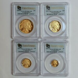 Click now to see the BUY IT NOW Price! SET OF 4 2008 W GOLD BUFFALO PROOFS PCGS PR70DCAM FIRST STRIKE DEEP CAMEO