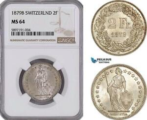 Click now to see the BUY IT NOW Price! AF295 SWITZERLAND 2 FRANCS 1879 B BERN SILVER NGC MS64 TOP POP
