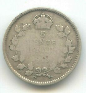 CANADA 1913 FIVE CENT CANADIAN .925 SILVER NICKEL   5C EXACT ITEM PICTURED