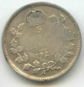 CANADA 1920 FIVE CENT CANADIAN SILVER NICKEL   5C EXACT COIN SHOWN